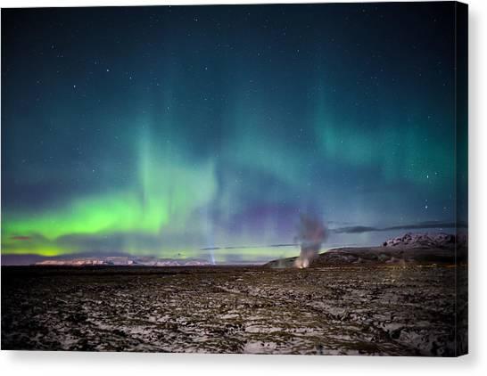 Lava And Light - Aurora Over Iceland Canvas Print
