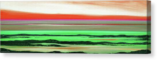 Lava Rock Abstract Panoramic Sunset In Red And Green Canvas Print