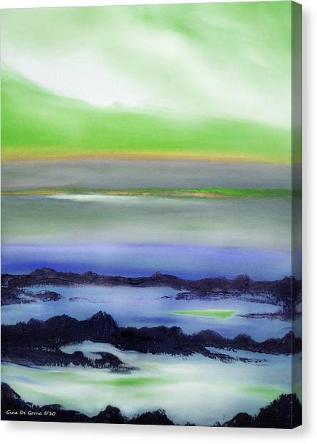Lava Rock Abstract Sunset In Blue And Green Canvas Print
