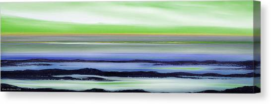 Lava Rock Panoramic Sunset In Green And Blue Canvas Print