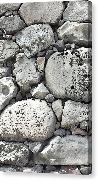 Lava Rock Wall 1 Triptych C Canvas Print