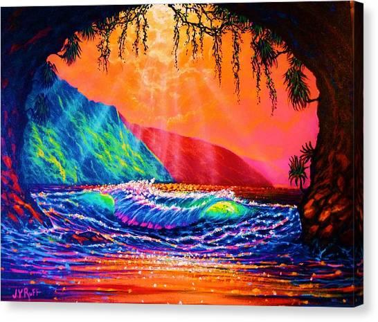 Lava Tube Fantasy In Gold Canvas Print