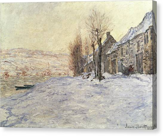 Snow Canvas Print - Lavacourt Under Snow by Claude Monet