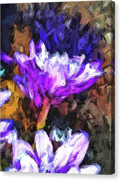 Lavender And White Flower With Reflection Canvas Print