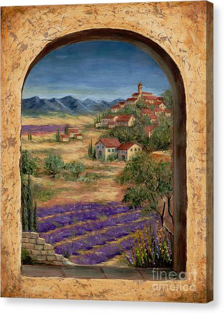 Mediterranean Landscape Canvas Print - Lavender Fields And Village Of Provence by Marilyn Dunlap