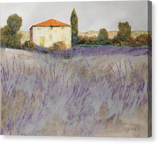 Field Canvas Print - Lavender by Guido Borelli