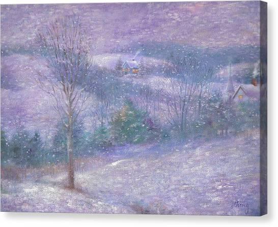 Lavender Impressionist Snowscape Canvas Print