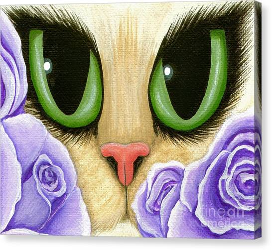 Lavender Roses Cat - Green Eyes Canvas Print