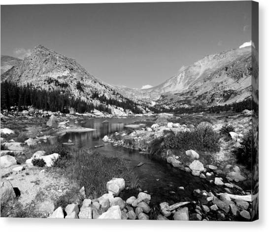Lawn Lake Black And White Canvas Print