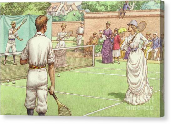 Tennis Players Canvas Print - Lawn Tennis Being Played In The Victorian Age by Pat Nicolle