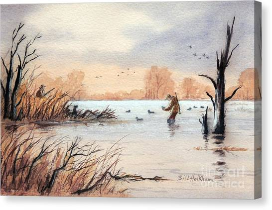 Laying Out The Decoys I Canvas Print