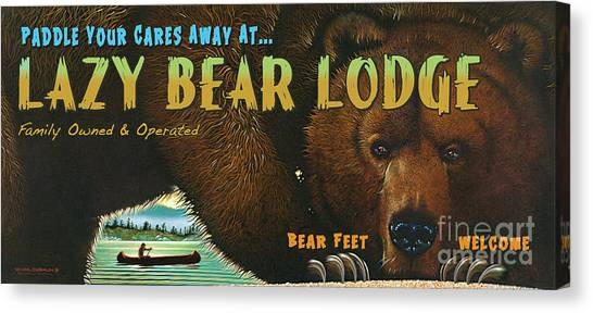 Canoes Canvas Print - Lazy Bear Lodge Sign by JQ Licensing