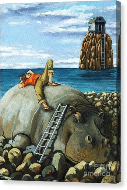 Surrealism Canvas Print - Lazy Days - Surreal Fantasy by Linda Apple