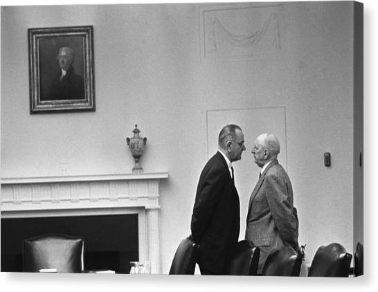 Lyndon Johnson Canvas Print - Lbj Giving The Treatment by War Is Hell Store