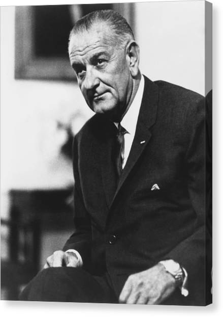 Lyndon Johnson Canvas Print - Lbj  by War Is Hell Store