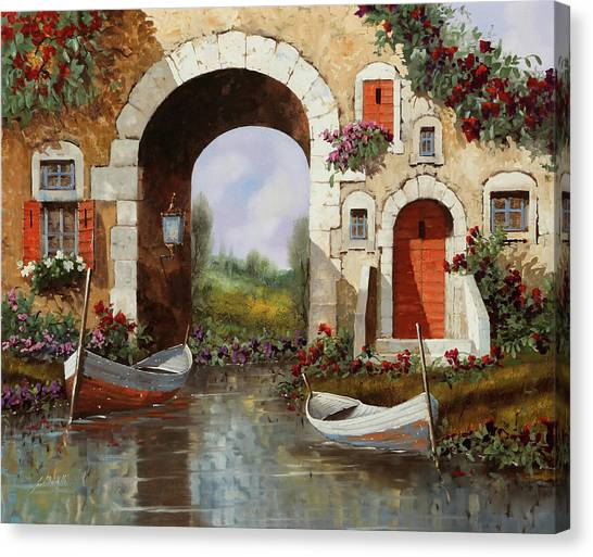 Red Door Canvas Print - Le Barche Sotto L'arco by Guido Borelli