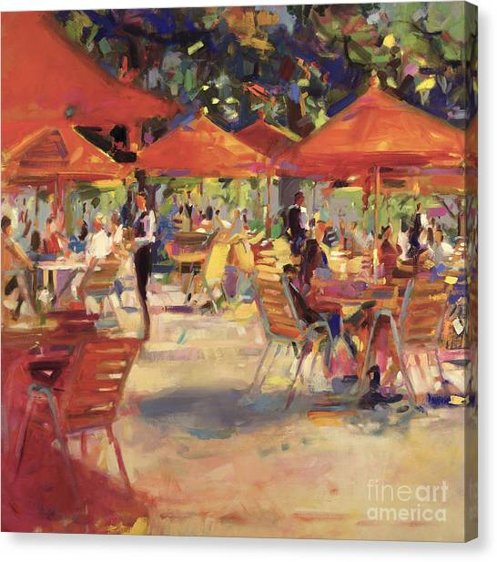 Cafes Canvas Print - Le Cafe Du Jardin  by Peter Graham