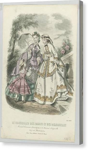 Demoiselles Canvas Print - Le Conseiller Des Dames Et Des Demoiselles, Juin 1862 Journal D Economie..., Anonymous, A. Leroy, 18 by Celestial Images