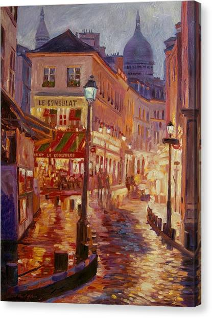 Bistros Canvas Print - Le Consulate Montmartre by David Lloyd Glover