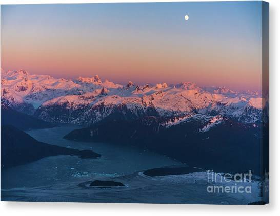 Seaplanes Canvas Print - Le Conte Bay And Glacier At Dusk Full Moon by Mike Reid