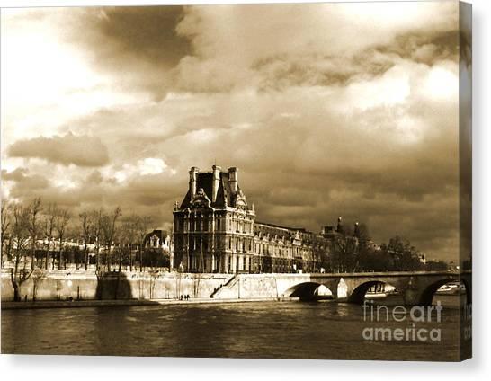 Le Louvre Canvas Print - Le Louvre On The Seine Paris by Linda  Parker