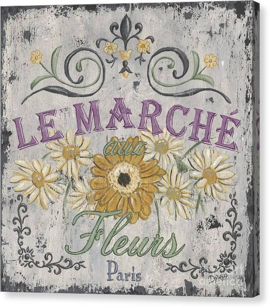 Shops Canvas Print - Le Marche Aux Fleurs 1 by Debbie DeWitt