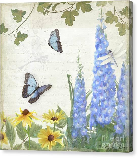 Jardin Canvas Print - Le Petit Jardin 1 - Garden Floral W Butterflies, Dragonflies, Daisies And Delphinium by Audrey Jeanne Roberts