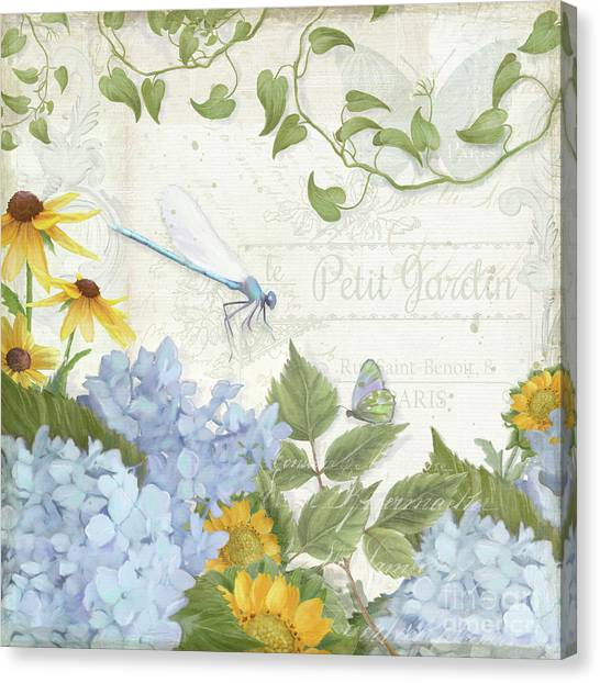 Jardin Canvas Print - Le Petit Jardin 2 - Garden Floral W Dragonfly, Butterfly, Daisies And Blue Hydrangeas by Audrey Jeanne Roberts