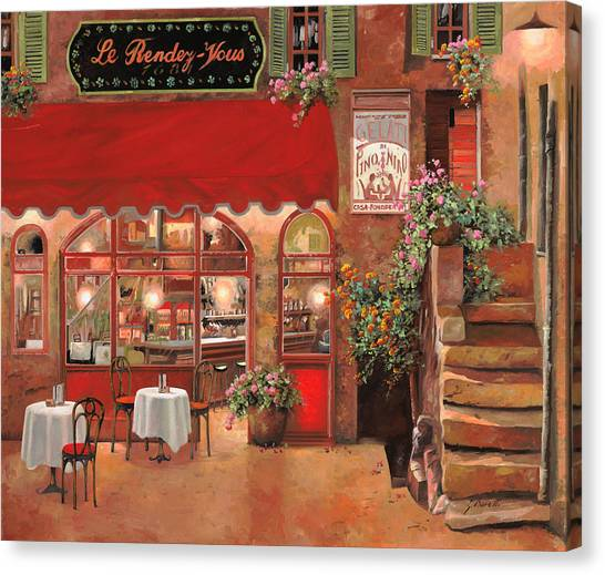 Cafes Canvas Print - Le Rendez Vous by Guido Borelli