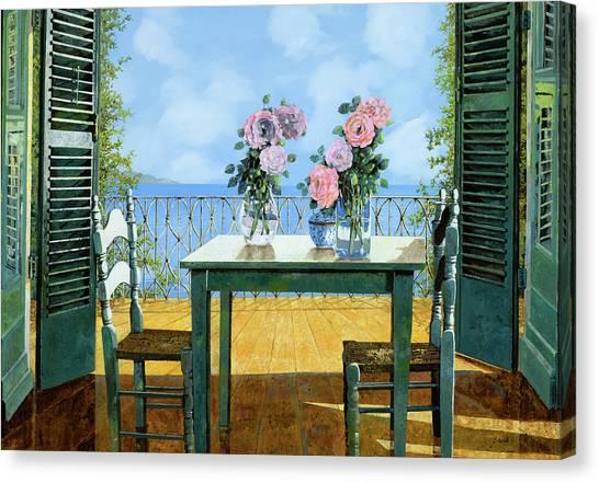 Blue Canvas Print - Le Rose E Il Balcone by Guido Borelli