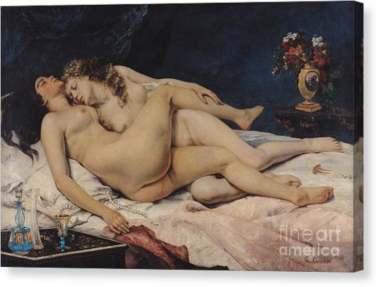 Naked Woman Canvas Print - Le Sommeil by Gustave Courbet