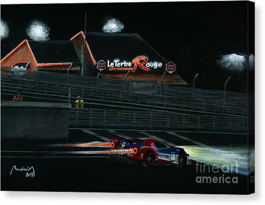 Cobra Canvas Print - Le Tertre Rouge Bar And A Ford Gt - Le Mans Night by Alain Baudouin