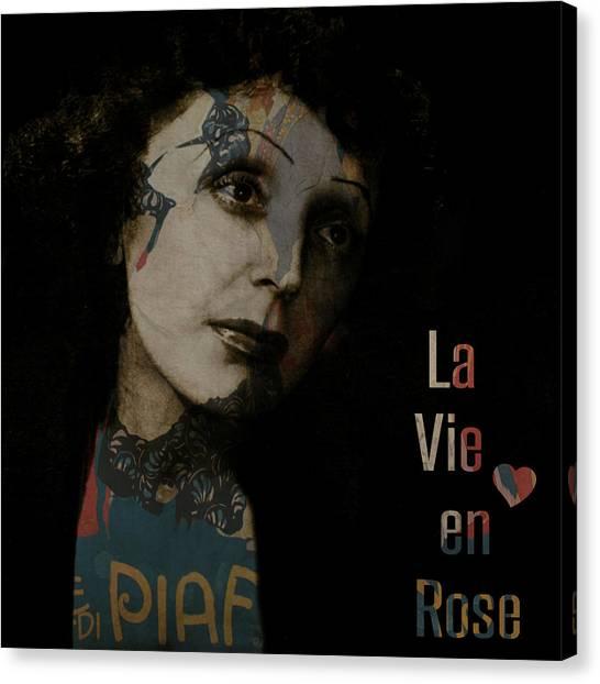 Rose Digital Art Canvas Print - Le Vie En Rose  by Paul Lovering