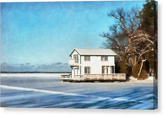 Leacock Boathouse In Winter Canvas Print