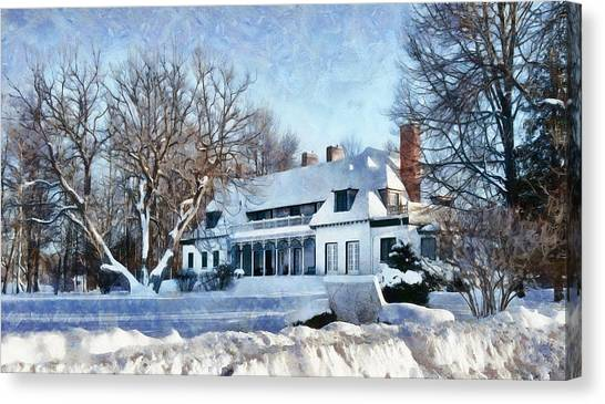 Leacock Museum In Winter Canvas Print