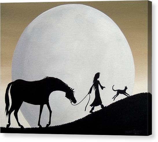 Funny Horses Canvas Print - Lead The Way - Horse Cat Moon Girl Silhouette by Debbie Criswell