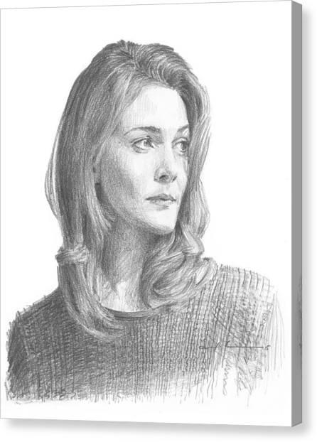 Leah Hager Cohen Pencil Portrait Canvas Print by Mike Theuer