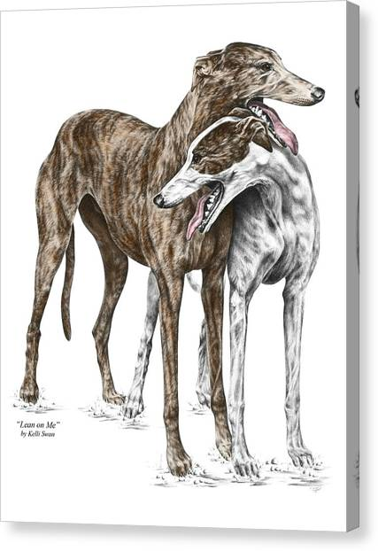 Lean On Me - Greyhound Dogs Print Color Tinted Canvas Print