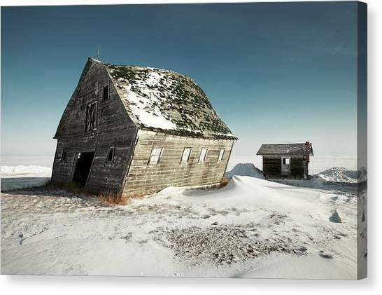 Farmstead Canvas Print - Leaning Barn by Todd Klassy