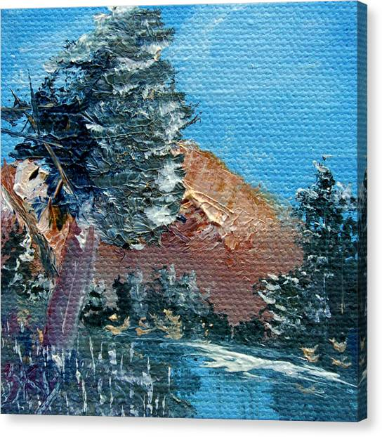 Bob Ross Canvas Print - Leaning Pine Tree Landscape by Jera Sky