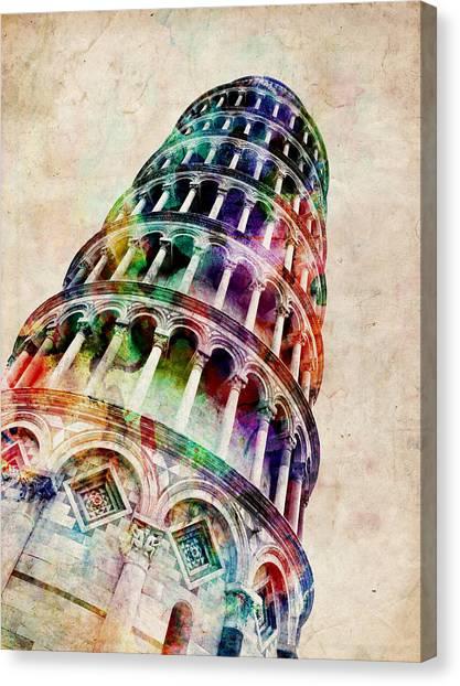 Italian Canvas Print - Leaning Tower Of Pisa by Michael Tompsett