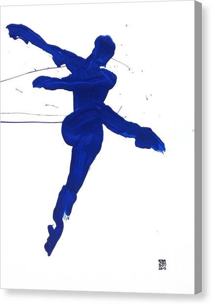 Leap Brush Blue 1 Canvas Print
