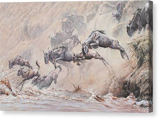 Canvas Print featuring the painting Leap Of Faith by Alan M Hunt