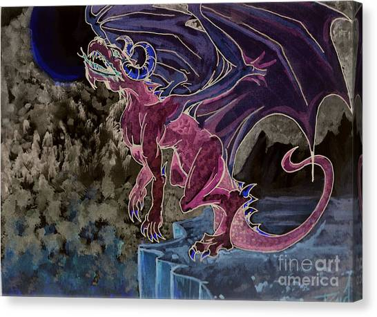 Canvas Print featuring the mixed media Leaping Dragon 2 by Reed Novotny
