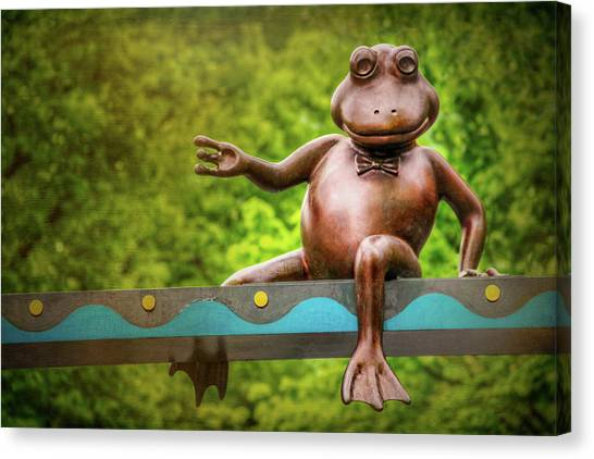 Balancing Canvas Print - Leaping Frog In Boston  by Carol Japp