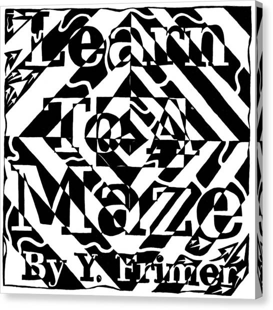 Learn To A Maze Book Cover 1 Canvas Print by Yonatan Frimer Maze Artist