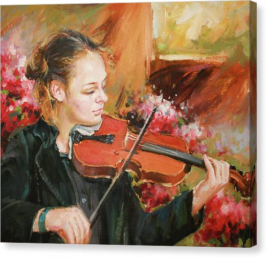 Violins Canvas Print - Learning The Violin by Conor McGuire