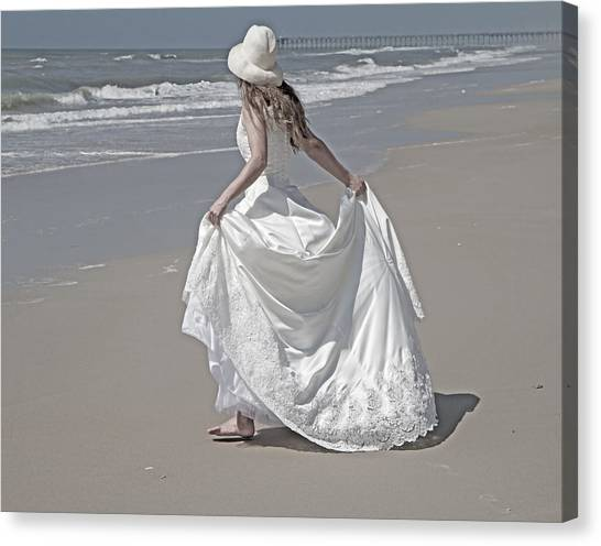 Bridal Canvas Print - Learning To Fly by Betsy Knapp