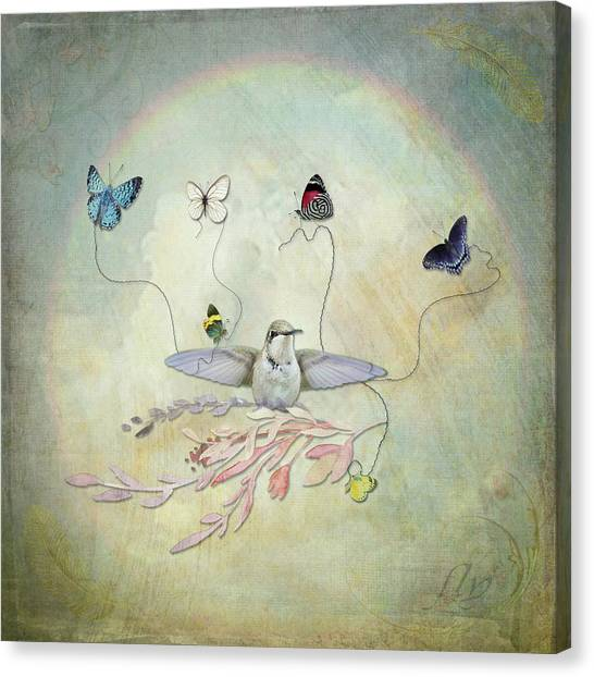 Canvas Print featuring the digital art Learning To Fly by Sue Collura