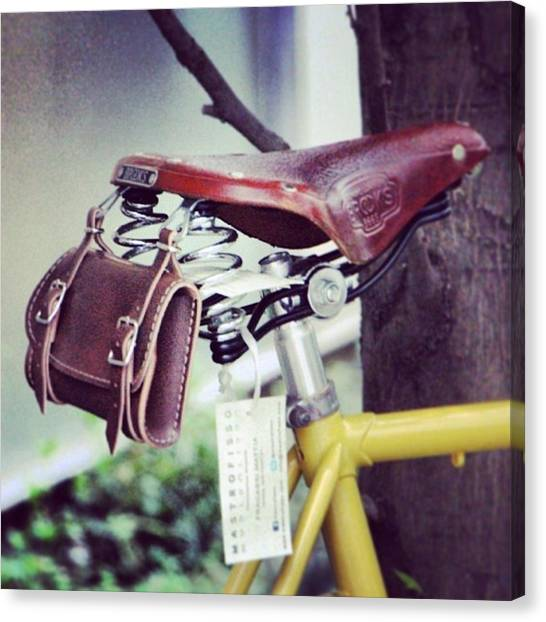 Saddles Canvas Print - #leather #bicycle #saddle And #bag by Boaz Zemer